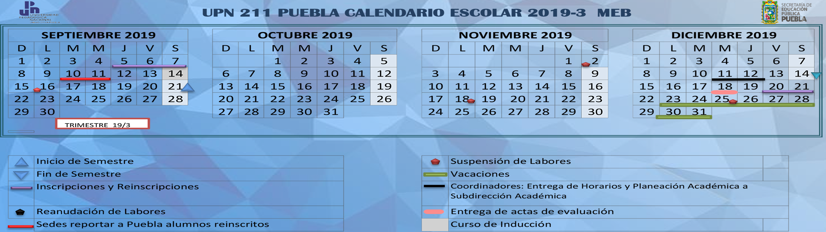 Calendario Escolar 18 19 Puebla.Plataforma Virtual Upn Meb